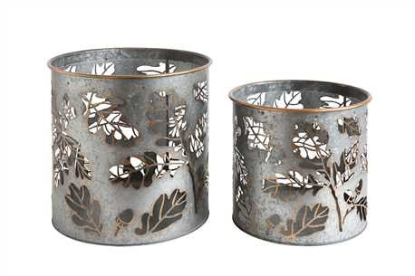 Creative Coop Metal Buckets w/ Laser Cut Leaves
