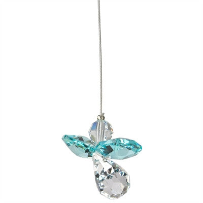 Crystal Guardian Angel Suncatcher - Blue Zircon