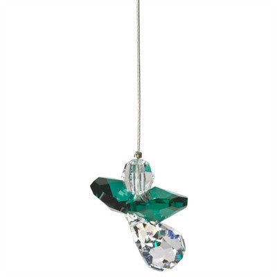 Crystal Guardian Angel Suncatcher - Emerald
