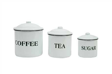 "Enameled Metal ""Coffee"", ""Tea"" & ""Sugar"" Containers"