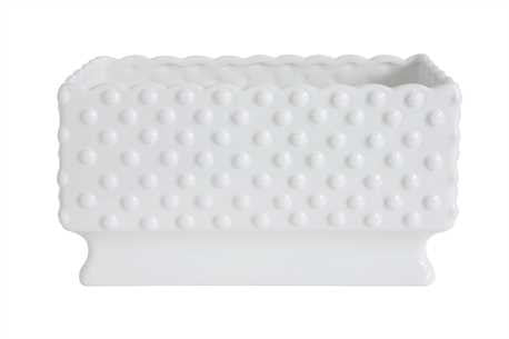 Ceramic Hobnail Planter, White