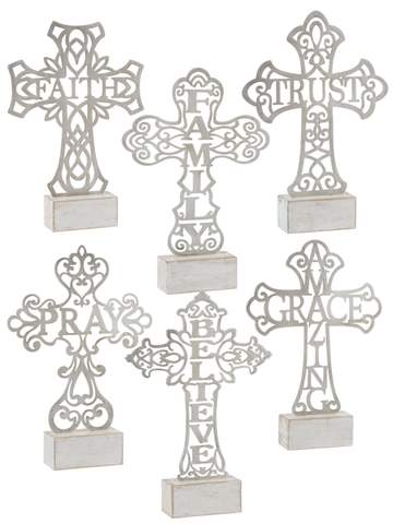 Cut Out Word Cross on Block Figurines