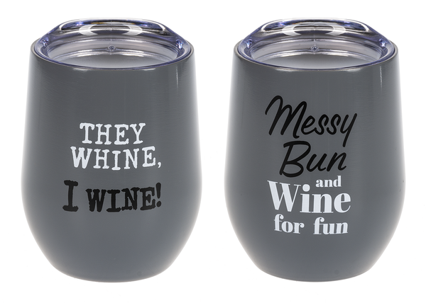 Mom's Hair, Don't Care! - Stainless Steel Wine Glasses