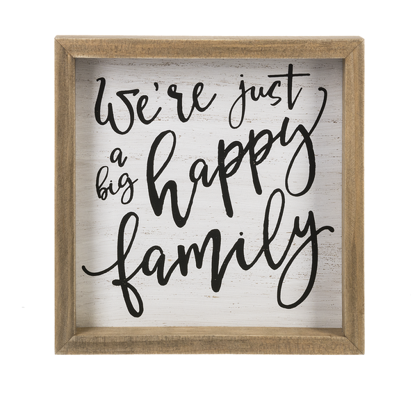 Framed Wall Plaque - We're Just a Big Happy Family