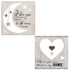 To the Moon and Back Wood Die Cut Plaques