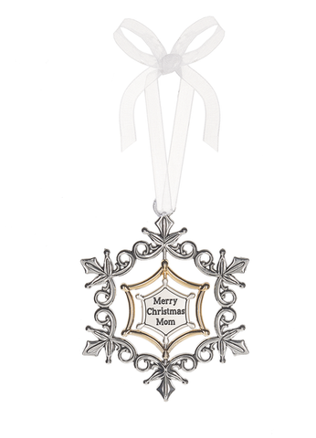 3D Swirling Snowflake Ornament - Merry Christmas Mom