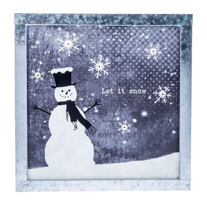 Snowman - Let it Snow Light Up Wall Plaque