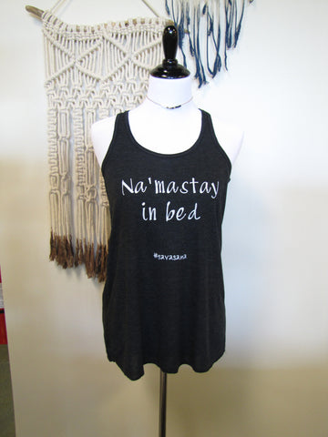 "Ellembee ""Na Mastay in Bed"" Black Tank Top"