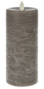 Gray LED Textured Wax Pillar Candle (Large)