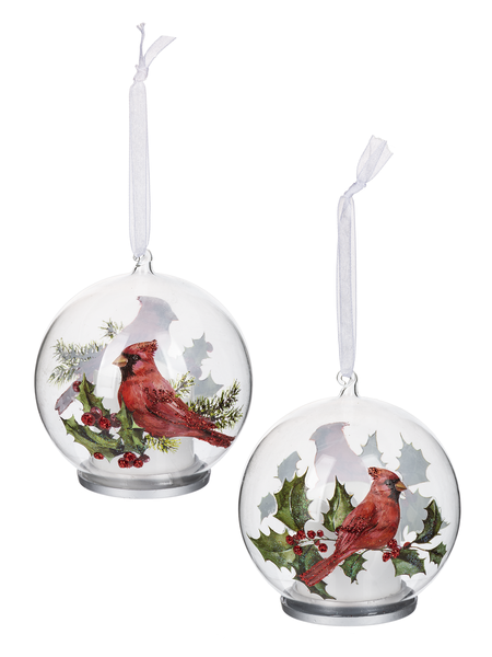 Small Glass Cardinal Ornaments