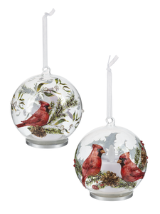Large Glass Cardinal Ornaments
