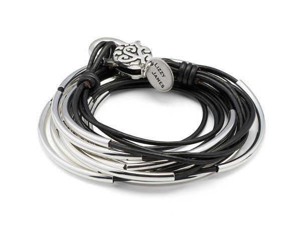 Lizzy Classic - 4 Strand - Silver Crescents - Natural Black
