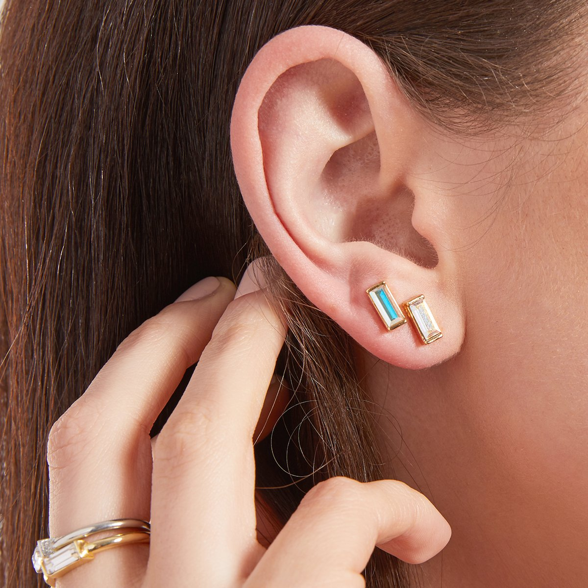 Luca + Danni Mini Hudson Stud Earrings in Crystal