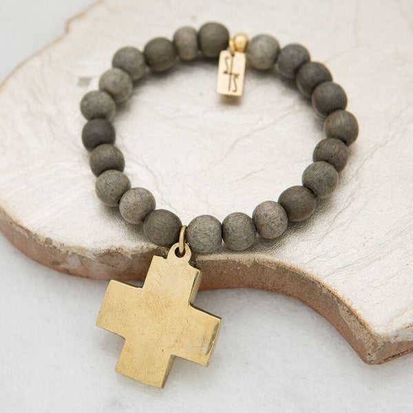 Gray Cross Stretch Bracelet