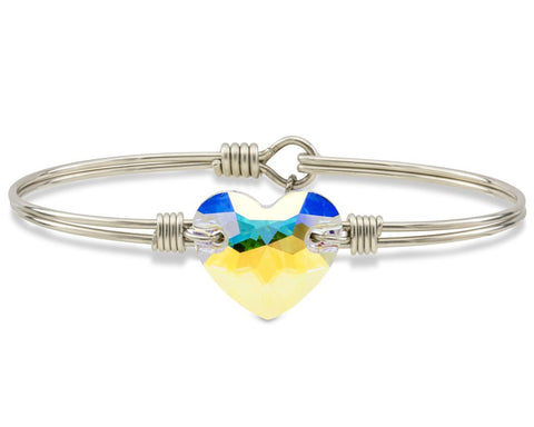 Luca + Danni Crystal AB Heart Bangle Bracelet