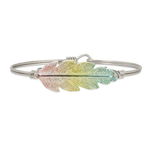 Luca + Danni Lucky Feather Bangle Bracelet in Rainbow