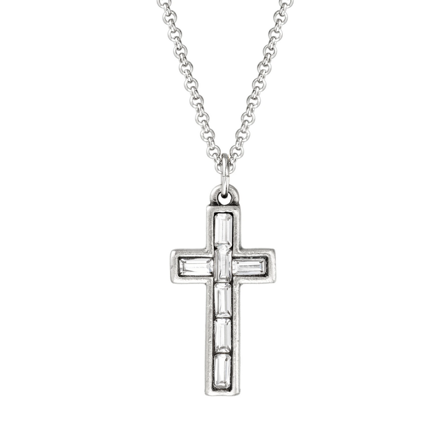 Baguette Cross Necklace in Crystal