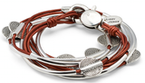 Lizzy Disc - 3 Strand - Silver Crescents - Metallic Moroccan Red