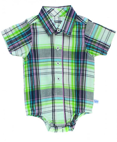 Christopher Plaid Button-Up Bodysuit