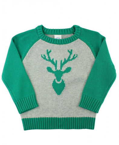 Emerald Raglan Deer Sweater