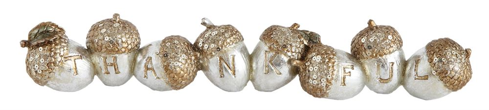 "Creative Co-op Acorn Decor ""Thankful"", Silver Finish"