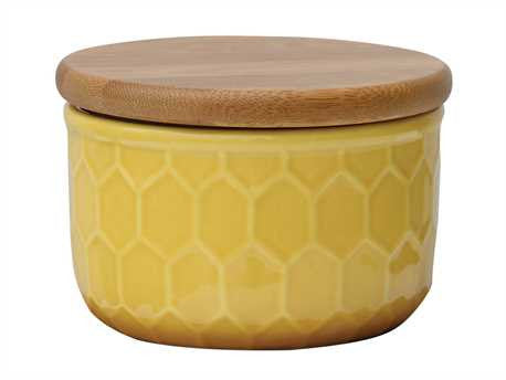 Ceramic Canister w/ Honeycomb Design & Wood Lid, Golden Yellow