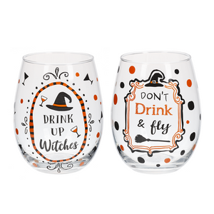 Black & White Gingham Halloween Stemless Wine Glasses