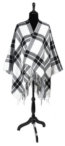 Double Layer Poncho Plaid Shawl