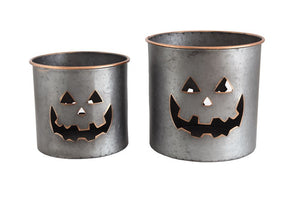 Creative Co-op Metal Baskets w/ Jack-O-Lantern Face