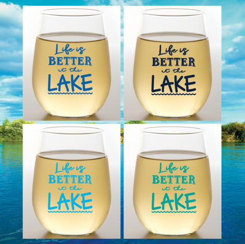 LIFE IS BETTER AT THE LAKE Shatterproof Wine Glasses(4pk)