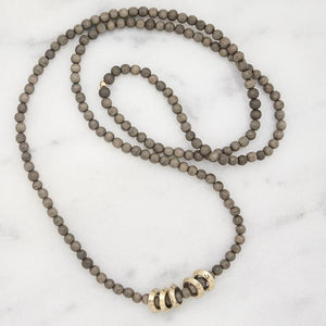 Gray Golden Rings Long Layering Necklace