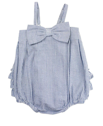 Blue Seersucker Bow-Front Bubble Romper