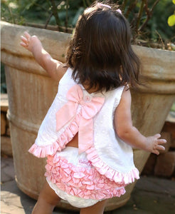 Ruffle Butts Swiss Dot Bow-Back Top
