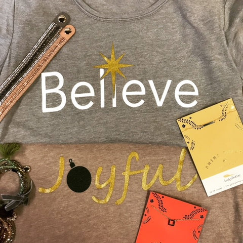 """Believe"" Holiday Graphic Tee"