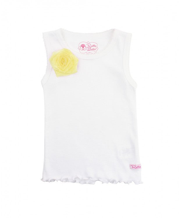 White w/Yellow Flower Tank Top