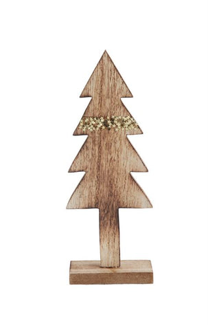 Creative Co-op Tree, Natural w/ Gold Glitter Stripe