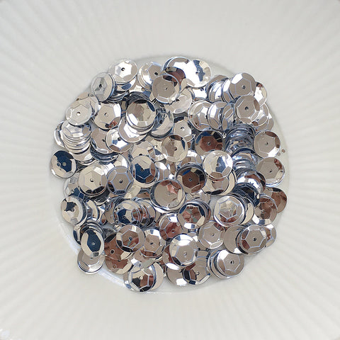 Metallic Silver 8mm Sequins