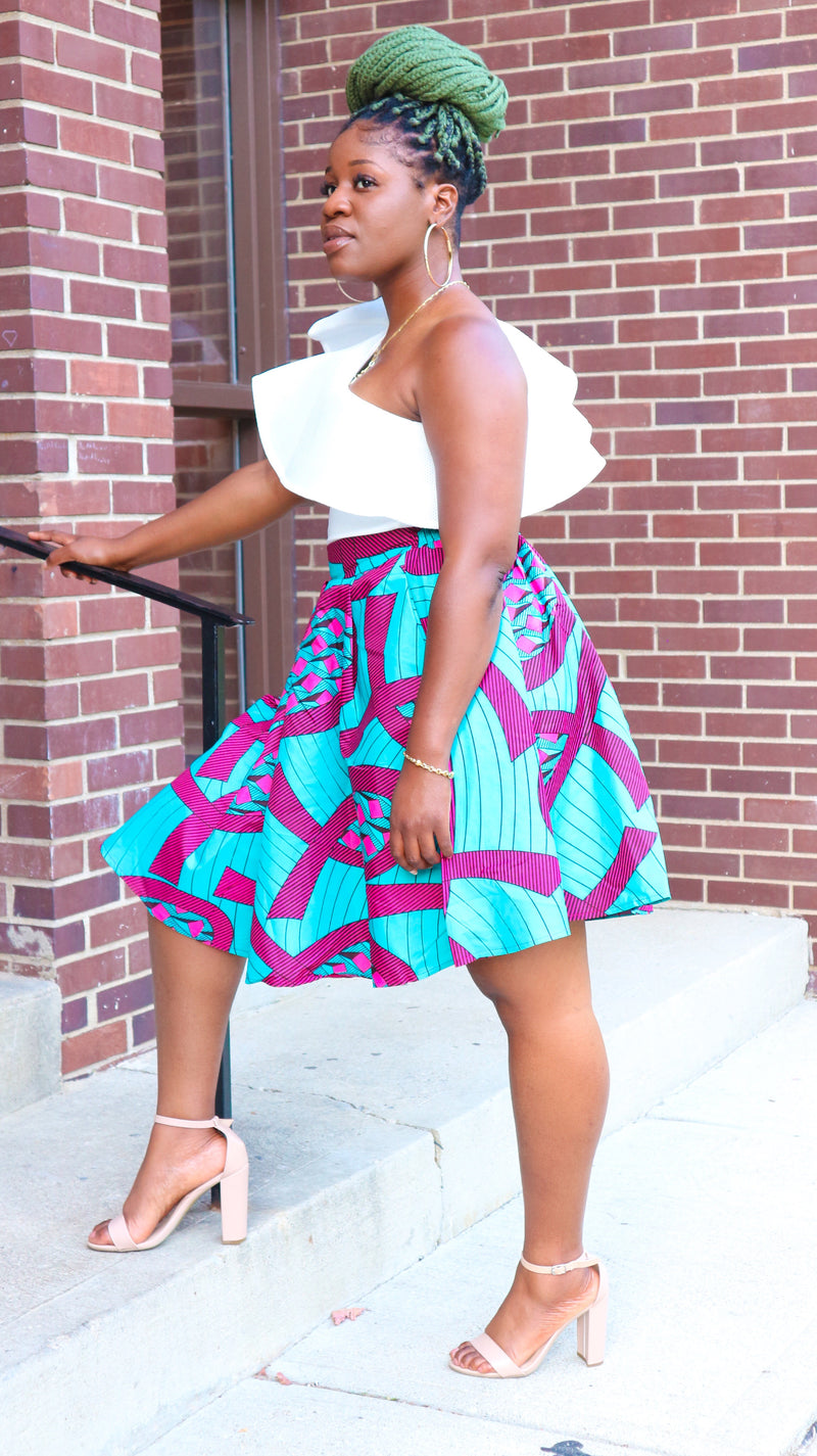 African Print Midi Skirt - Nkeoma By Ivy & Livy