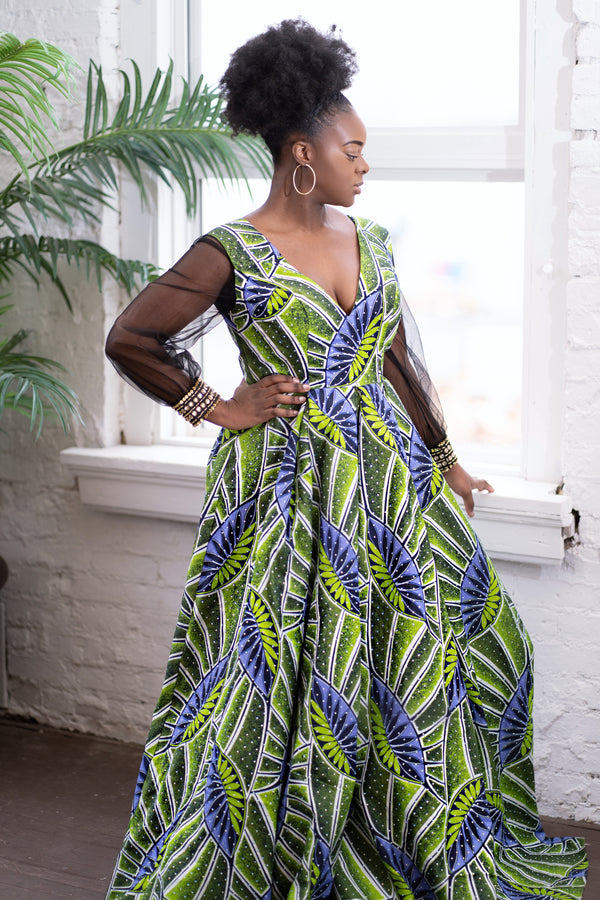 African Print Studded Gown - Nkeoma By Ivy & Livy