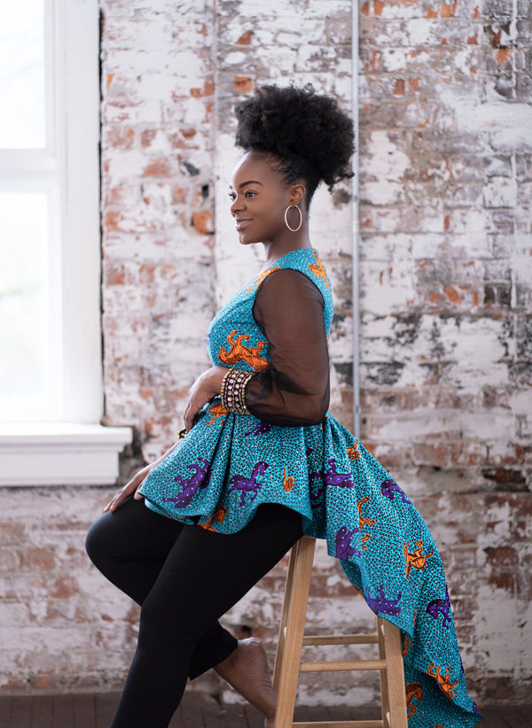 African Print Peplum Blouse - Nkeoma By Ivy & Livy