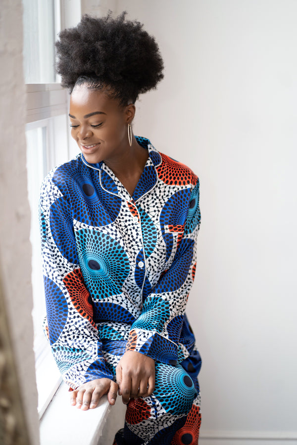 African Print Satin Long sleeve Pajama Set - Nkeoma By Ivy & Livy