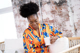 African Print Satin Robe Kente - Nkeoma By Ivy & Livy