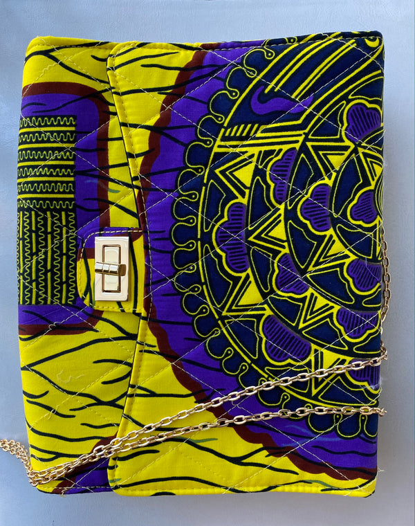 African Print Crossbody Bag Yellow/Purple - Nkeoma