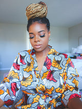 White/Red African Print Satin Robe - Nkeoma By Ivy & Livy