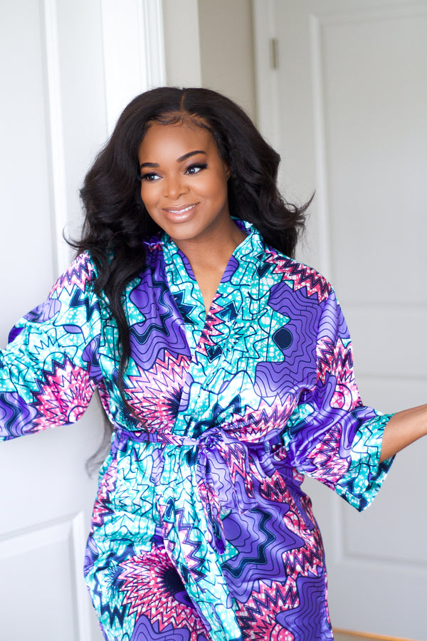 Purple/Teal African Print Satin Robe - Nkeoma By Ivy & Livy