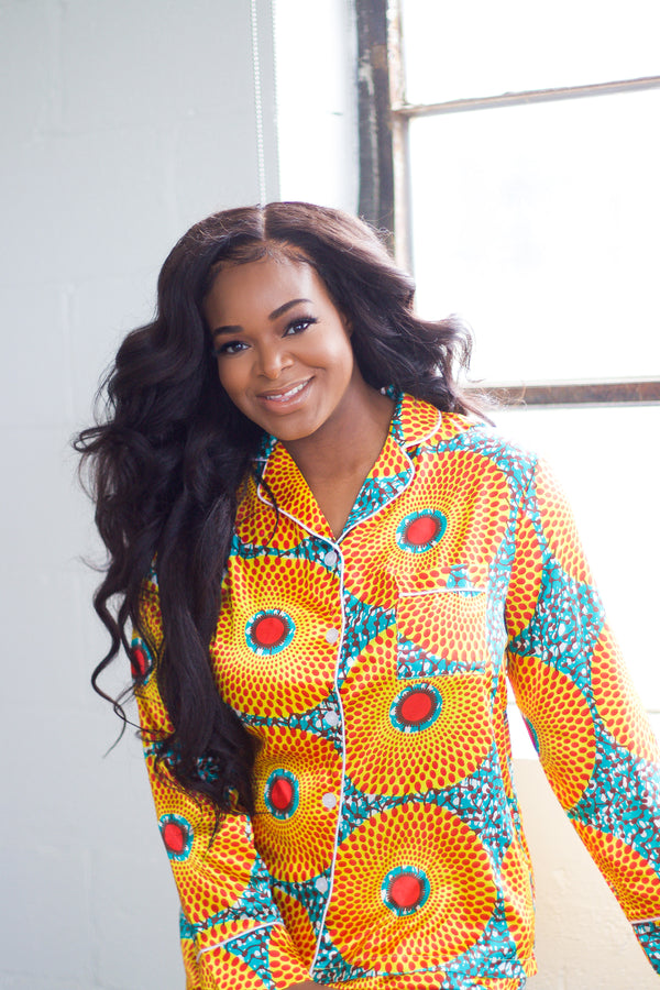 African Print Satin Pajama Set (Long Sleeves/Shorts) - Nkeoma By Ivy & Livy