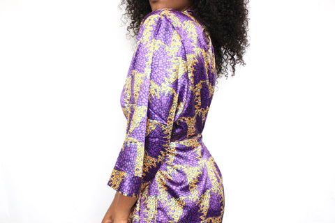 African Print Satin Robe Purple - Nkeoma