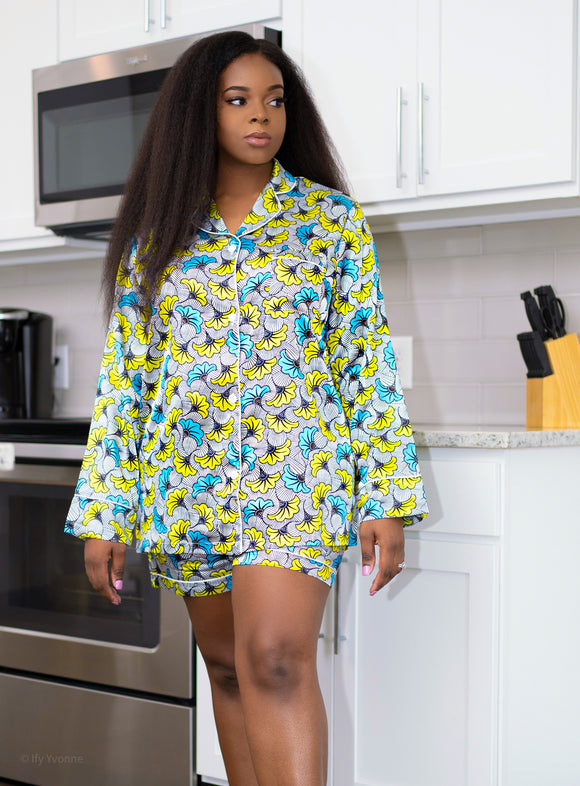 African Print Satin Pajama Set (Long Sleeves/Shorts) - Nkeoma