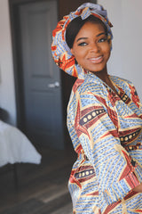 African Print Satin Robe Powder Blue - Nkeoma By Ivy & Livy