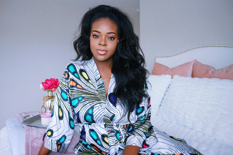 White African Print Satin Robe - Nkeoma By Ivy & Livy